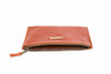 Unzipped persimmon leather BRANDED pouch