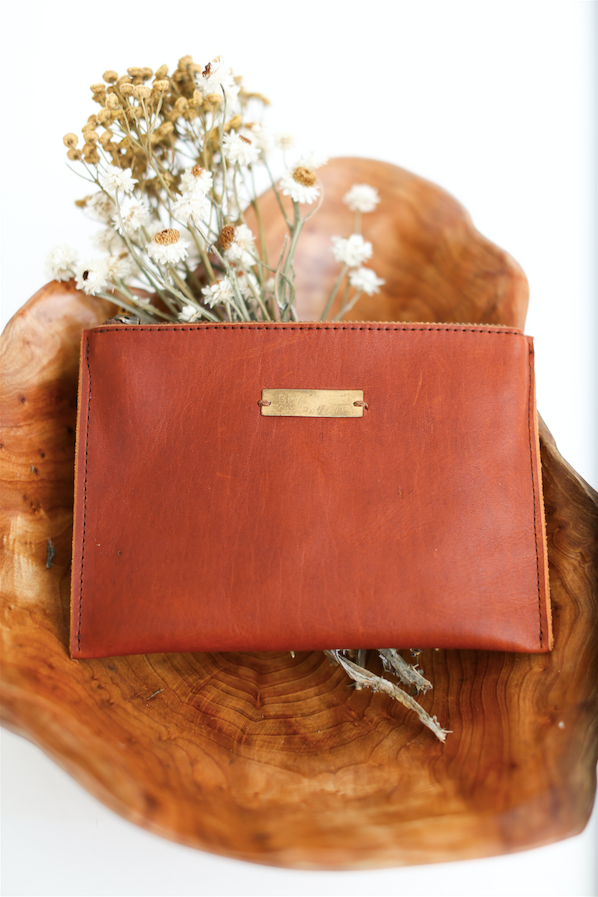 Persimmon leather BRANDED zippered pouch
