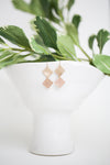 yellow gold-filled and rose gold-filled geometric dangly earrings hanging on a plant vase