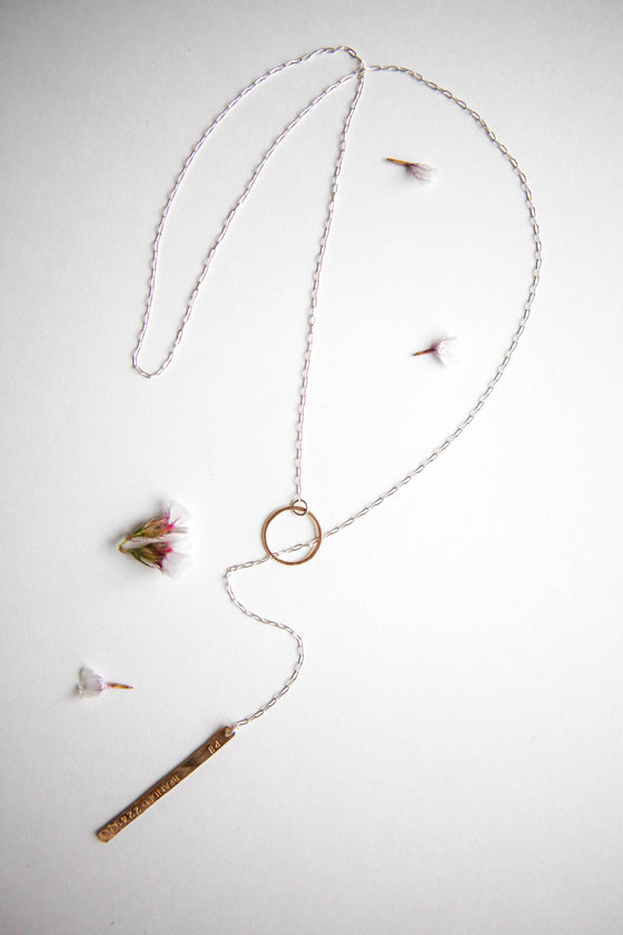 mixed metal sterling silver and yellow gold-filled lariat necklace