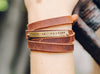 Walk in Freedom Brass Plate Leather Wrap Close Up
