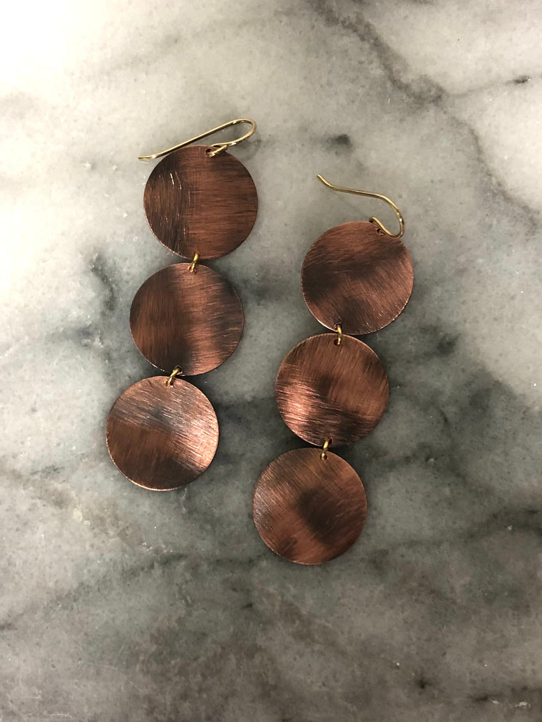 Triple Copper Disc Earrings