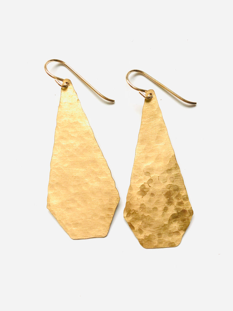 Brass Hammered Geo Earrings