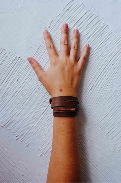 Hand with Walk in Hope Leather Wrap