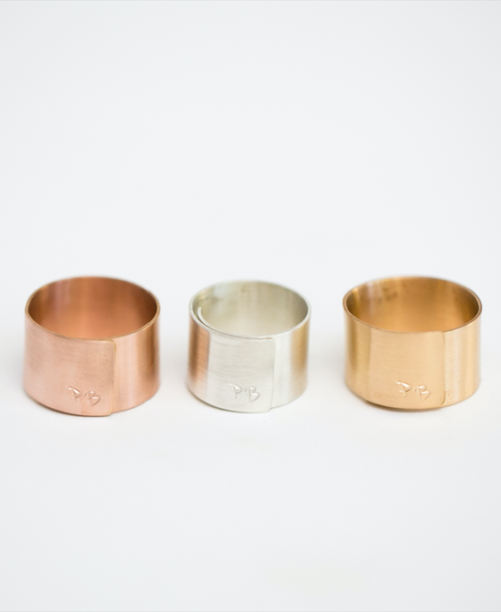 "1/2"" adjustable survivor initial rings (rose gold-filled, sterling silver and yellow gold-filled)"