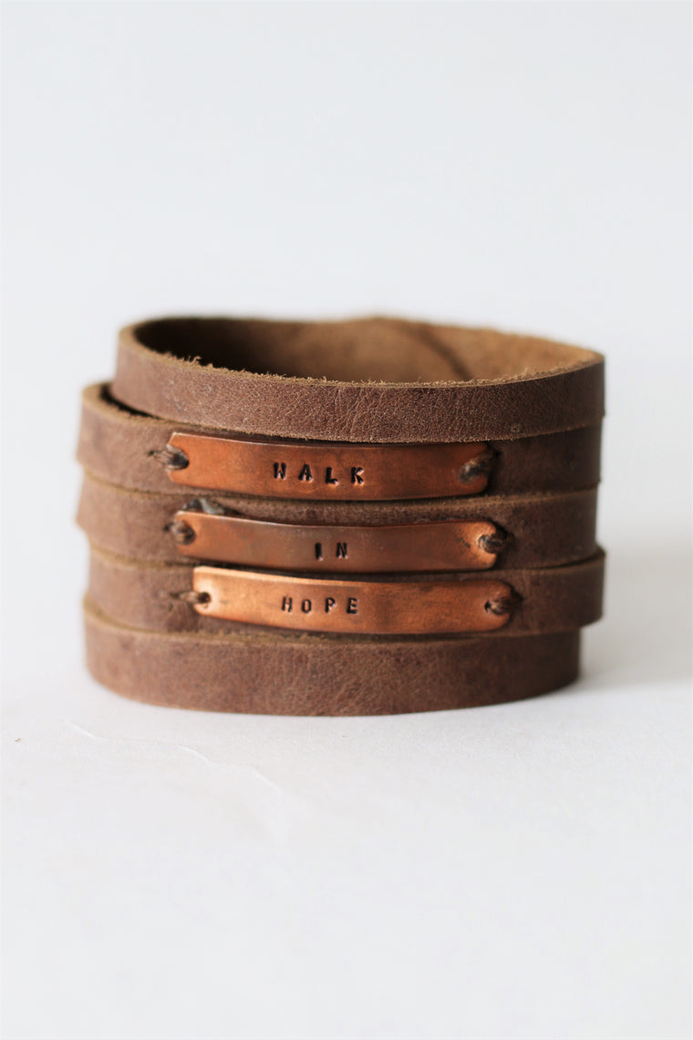 Walk in Hope Leather Cuff with Copper Stacked Plates
