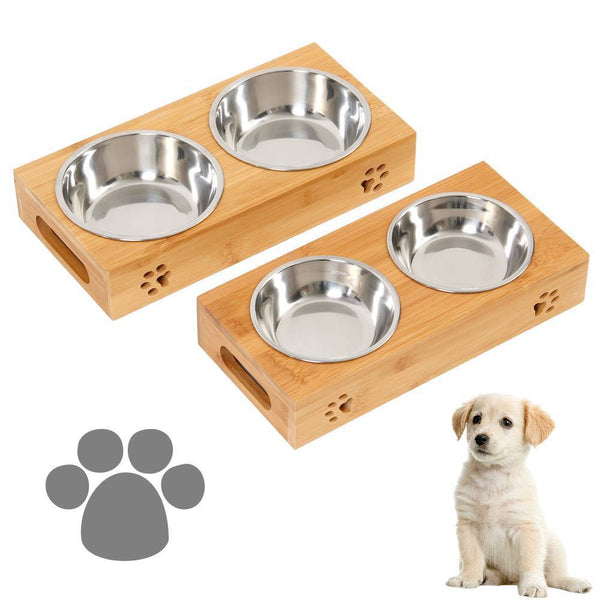Pet Food Feeding Stand Station Stainless - Double Bowls Stand
