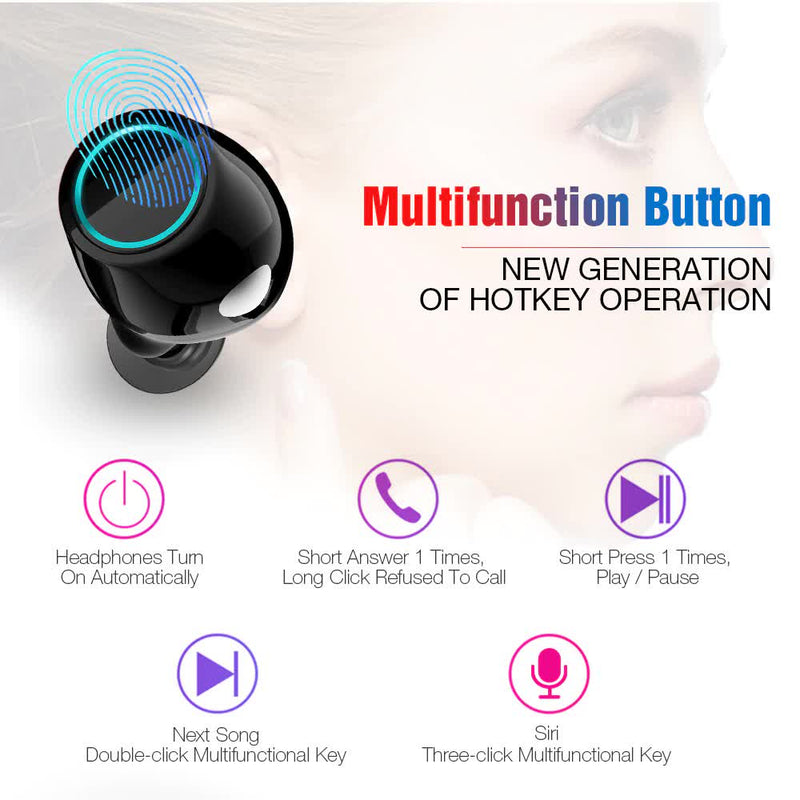 Bluetooth Wireless Earbuds with Mic