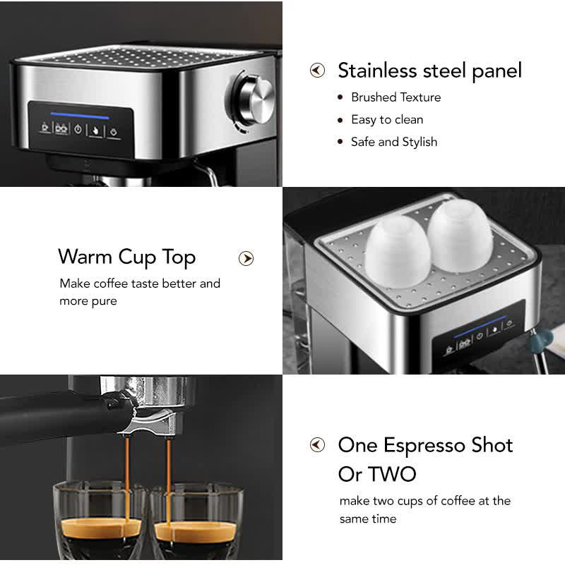 Espresso Coffee Maker Machine with Milk Frother Wand