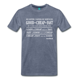 Three Kinds of Services - Graphic Tee - heather blue