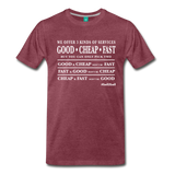 Three Kinds of Services - Graphic Tee - heather burgundy