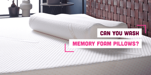 Can you wash memory foam pillows? Banner with text