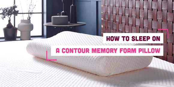Contour memory foam pillow on a bed