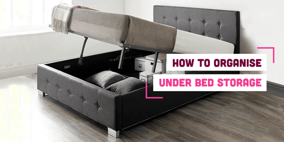 Ottoman storage bed with text