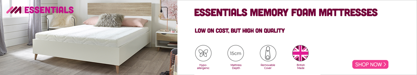 Essentials mattress banner