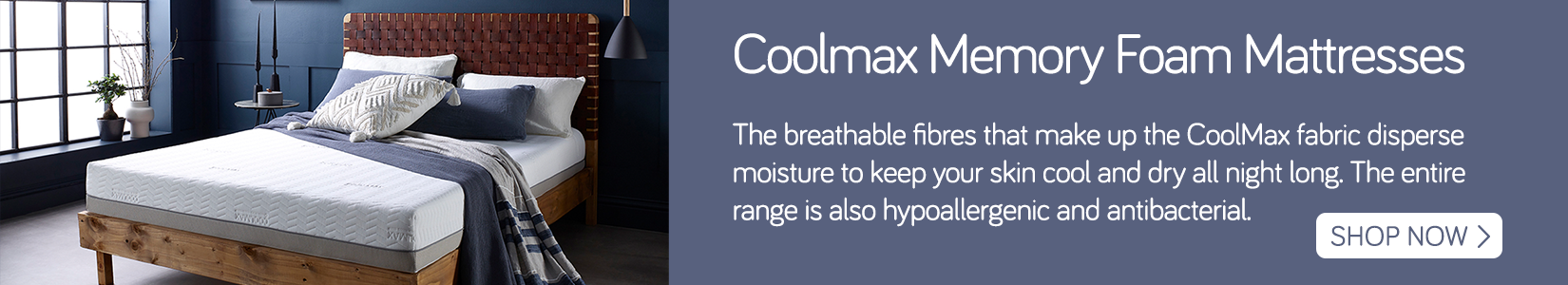 Coolmax mattress banner with text