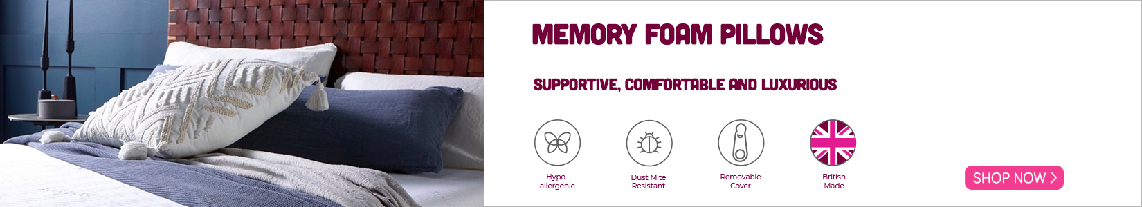 Memory foam pillow banner