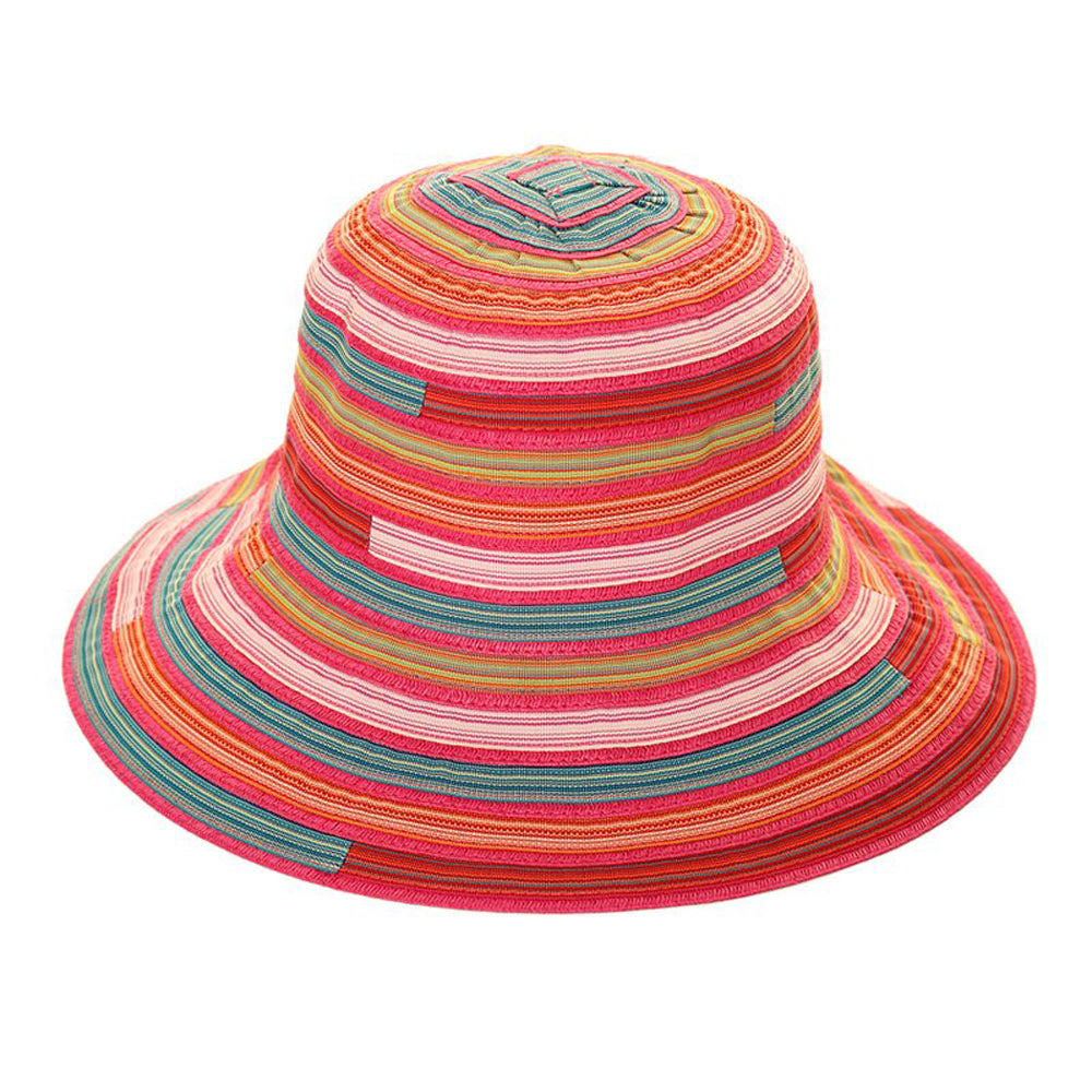 Women's Multi Stripe Cotton Short Brim Summer Hat