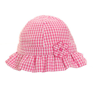 Girls' Pink & White Gingham Sun Hat