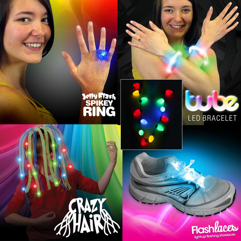 Ultimate LED Flashing Jewellery Party Pack: LED Crazy Hair, Flashing Bracelet, Ring, Laces, Bulb Necklace