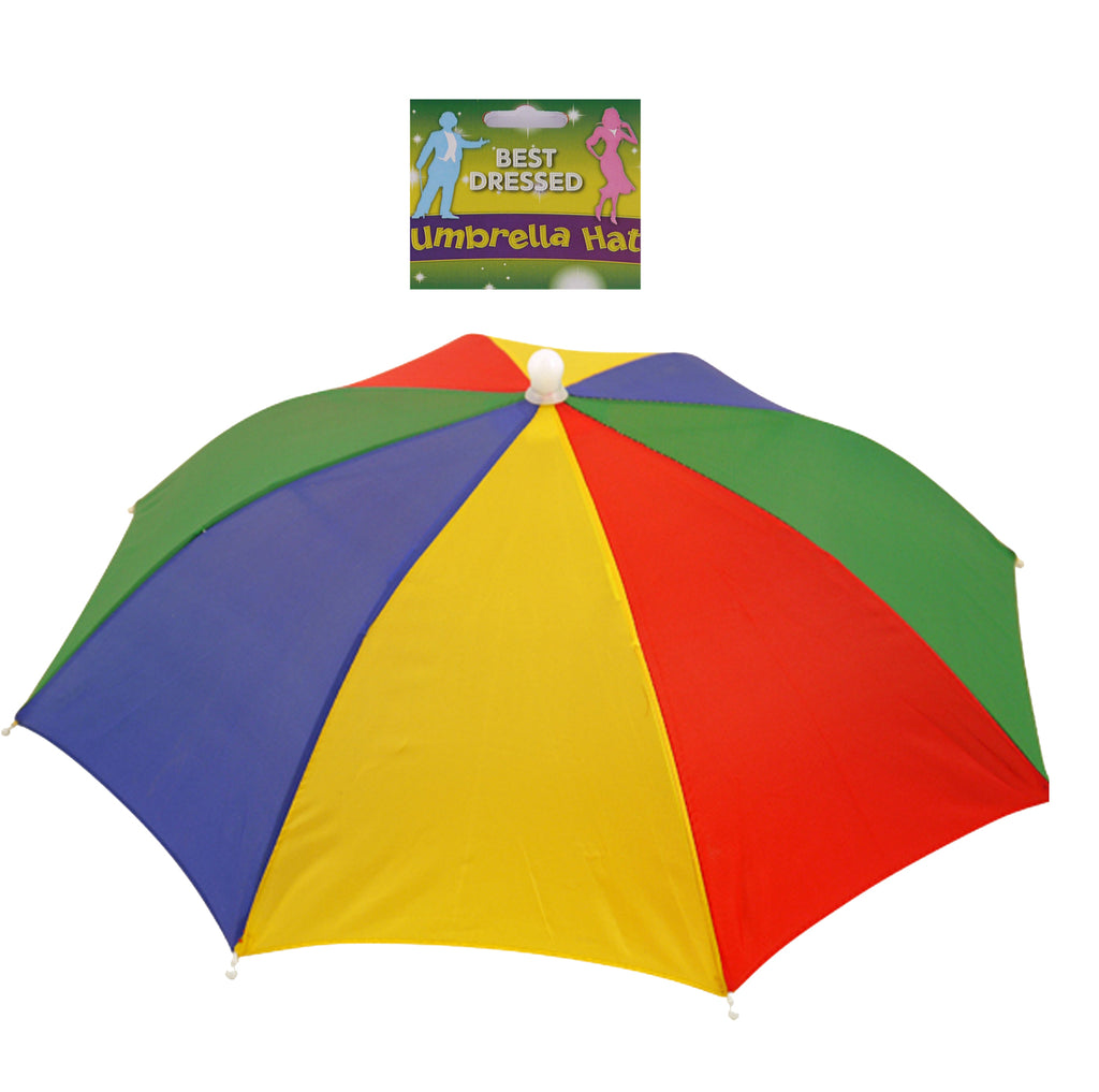 Foldable rainbow umbrella hat