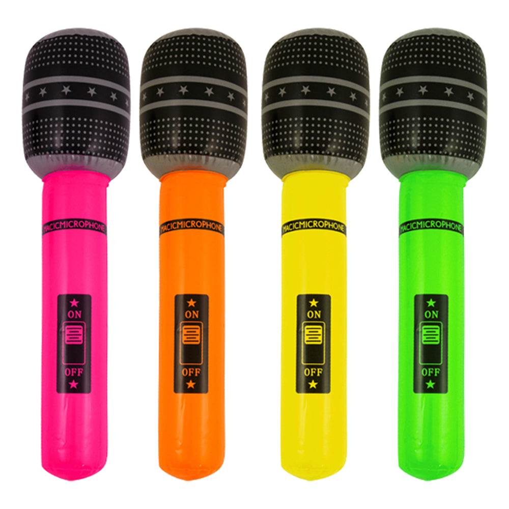 neon inflatable microphone, blow up neon microphone pink, orange, yellow, green