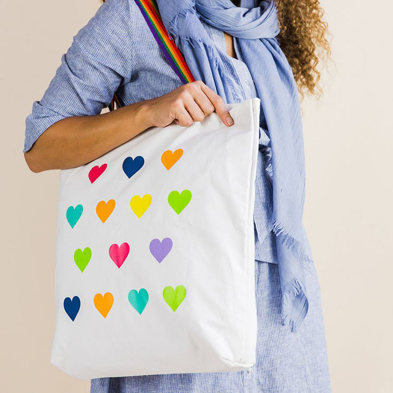 Peace of Mind White cotton shopper bag with rainbow handles and multi coloured hearts