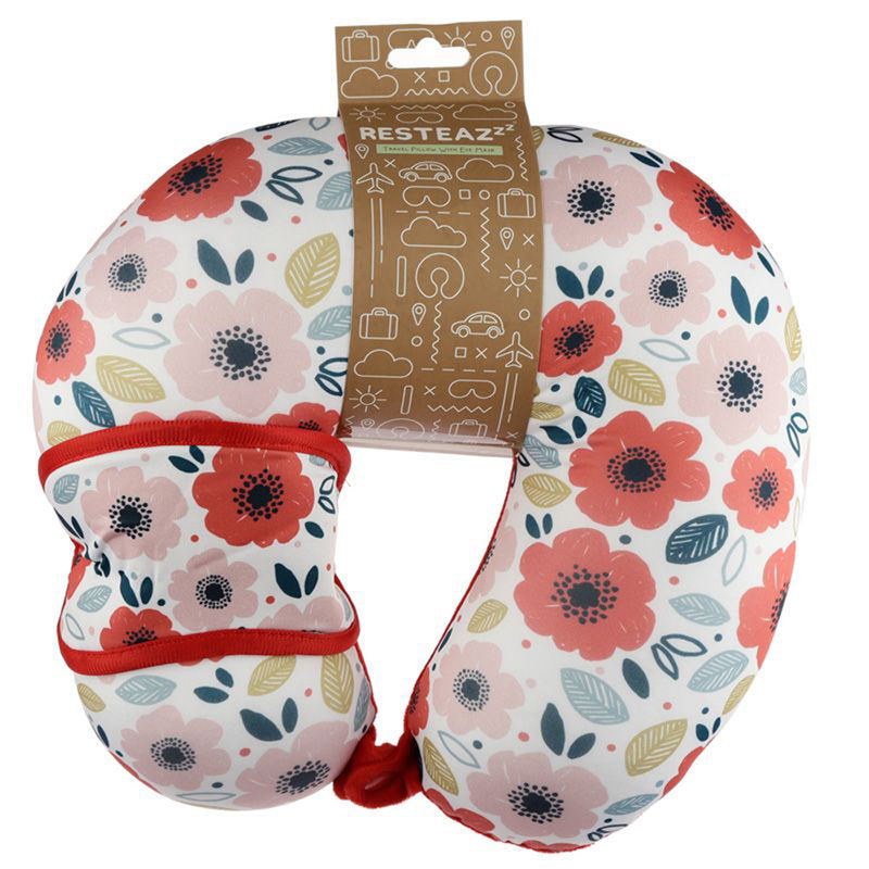 Relaxeazzz Poppy Fields Travel Pillow & Eye Mask Set