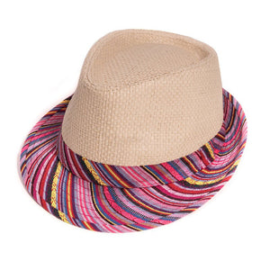 Adults Unisex Straw Trilby Summer Fashion Hat with Aztec Print