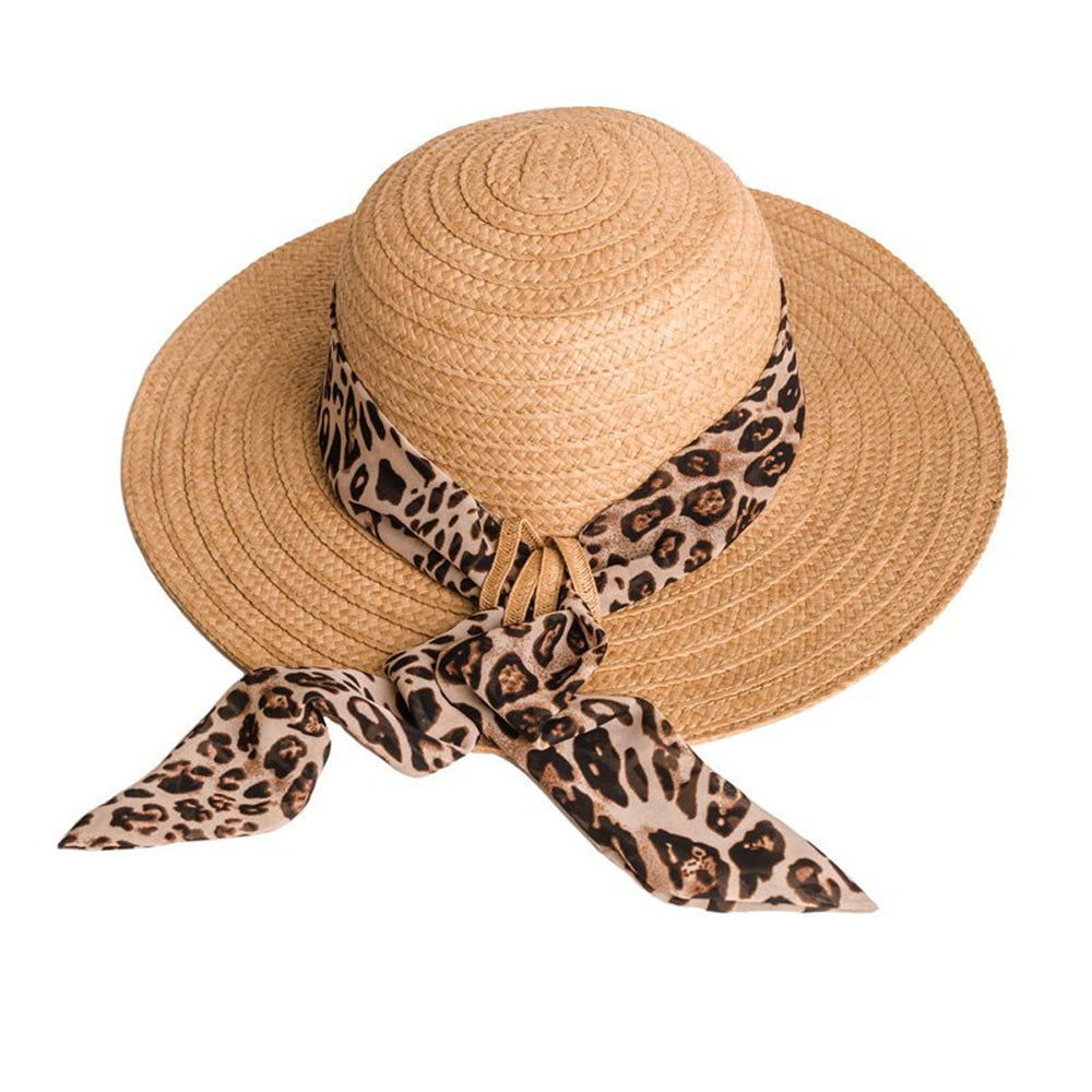 Ladies Straw Wide Brim Summer Fashion Hat with Scarf Print Band