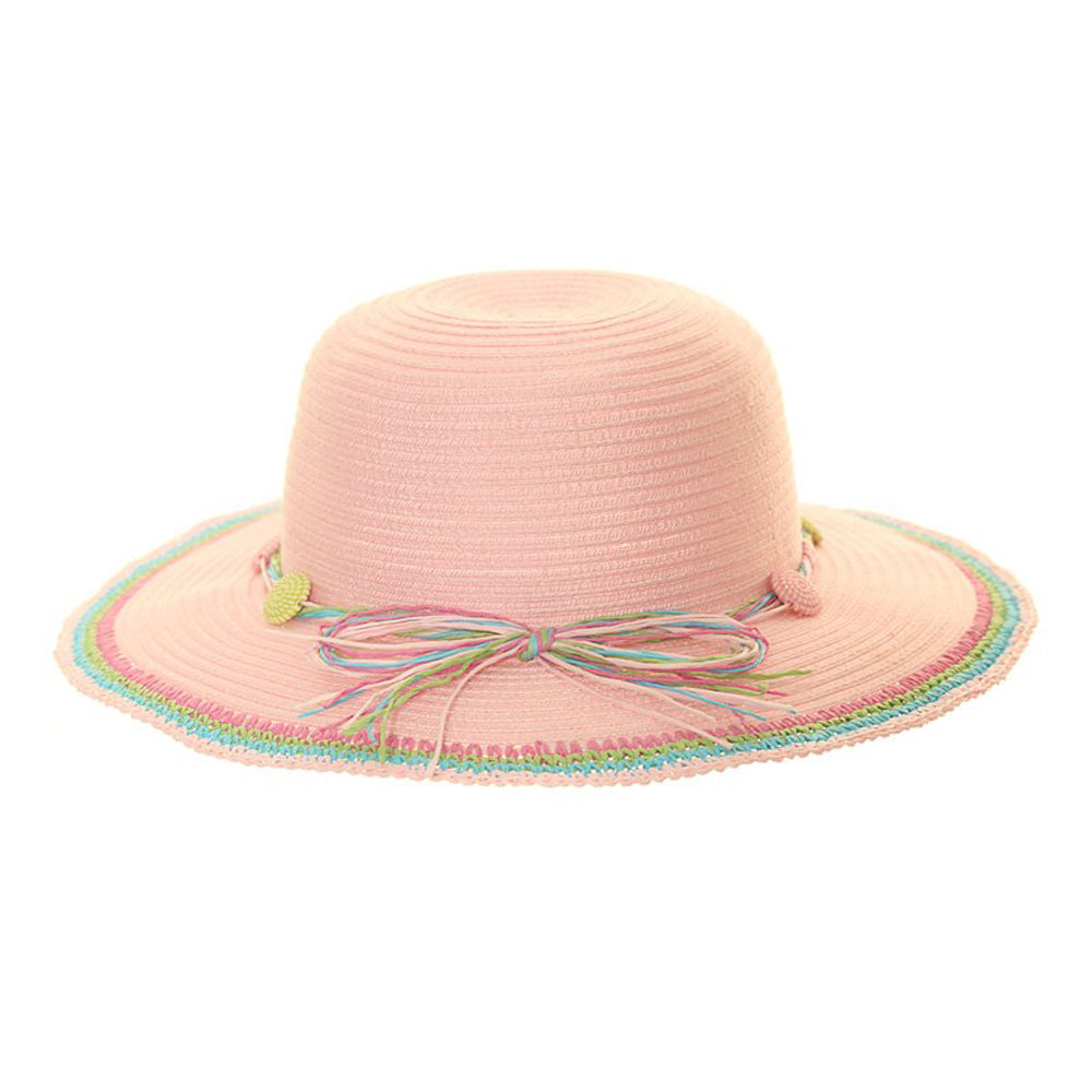 Girls Wide Brim Straw Fashion Hat with Coloured Band/Brim