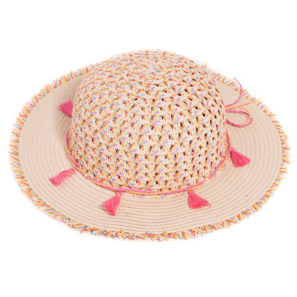 Girls Straw Wide Brim Summer Fashion Hat with Tassel Band