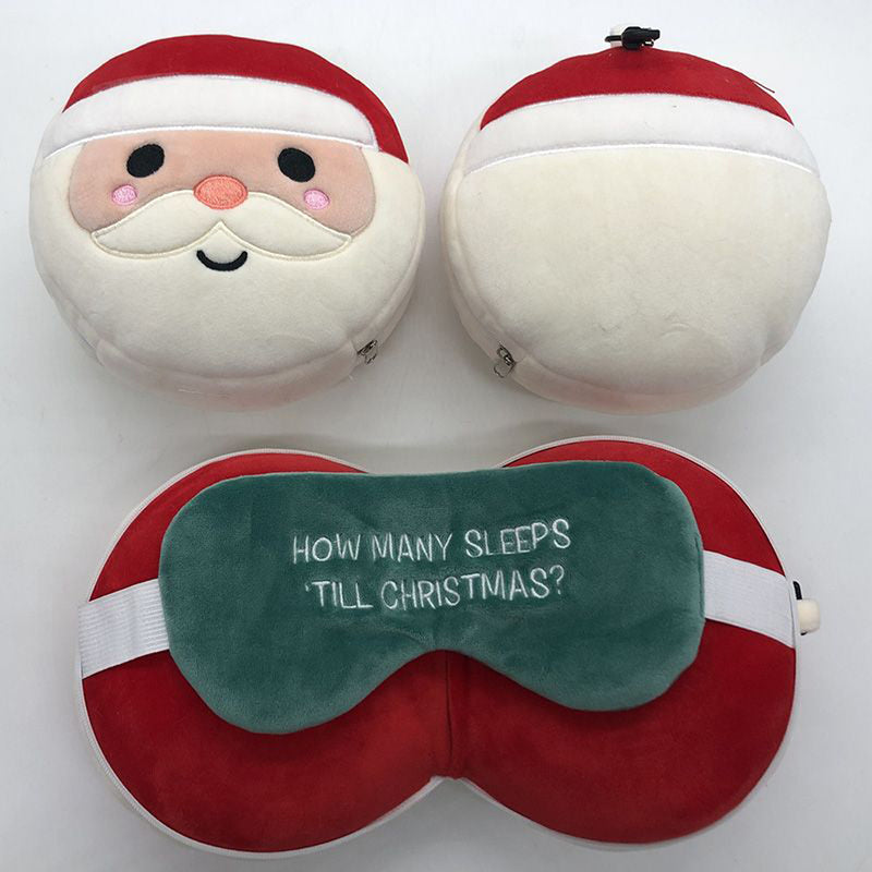 Relaxeazzz Plush Christmas Santa Round Travel Pillow & Eye Mask