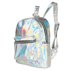 80s/ 90s Metallic Festival back pack, 80's dressing up, Summer Festival, Concerts silver