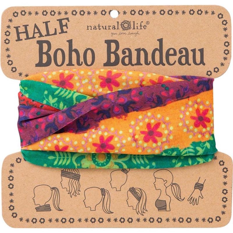 Natural Life Women's Boho Red Gold Green Half Boho Bandeau
