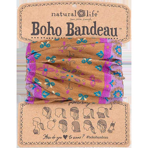 Natural Life Women's Gold Purple Flower Mandal Boho Bandeau