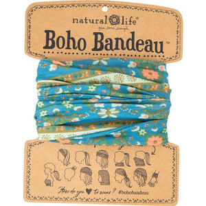 Natural Life Women's Boho Blue Flower Medallion Boho Bandeau