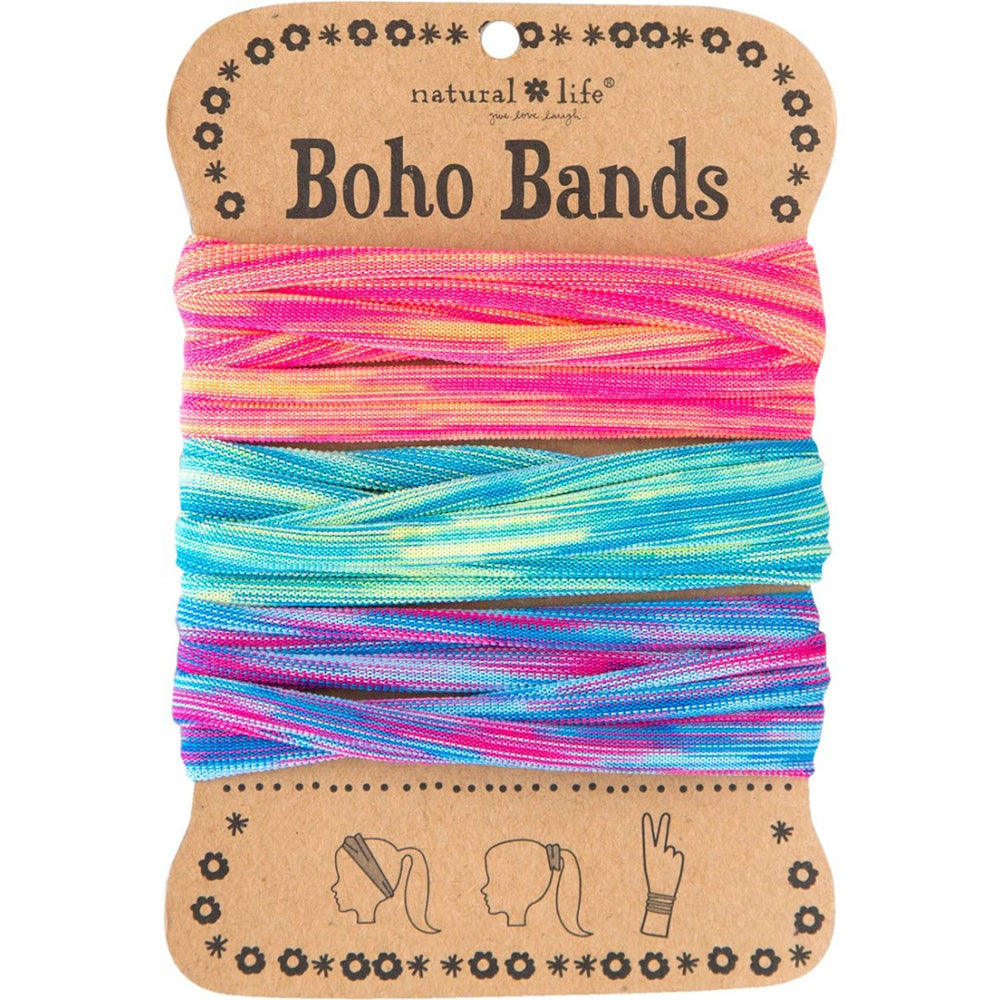 Natural Life Women's Boho Pink Turquoise Spandex Combo Boho Bands