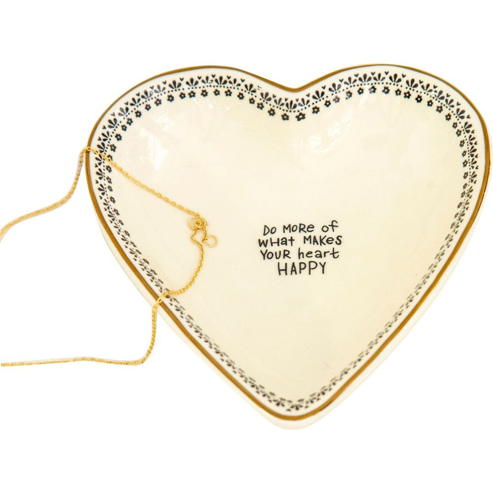 Natural Life Makes You Happy Heart Trinket Bowl