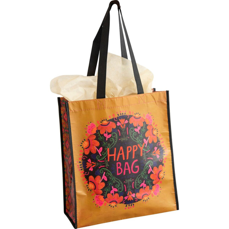 Natural Life Extra Large Mustard Pink Floral Happy Bag