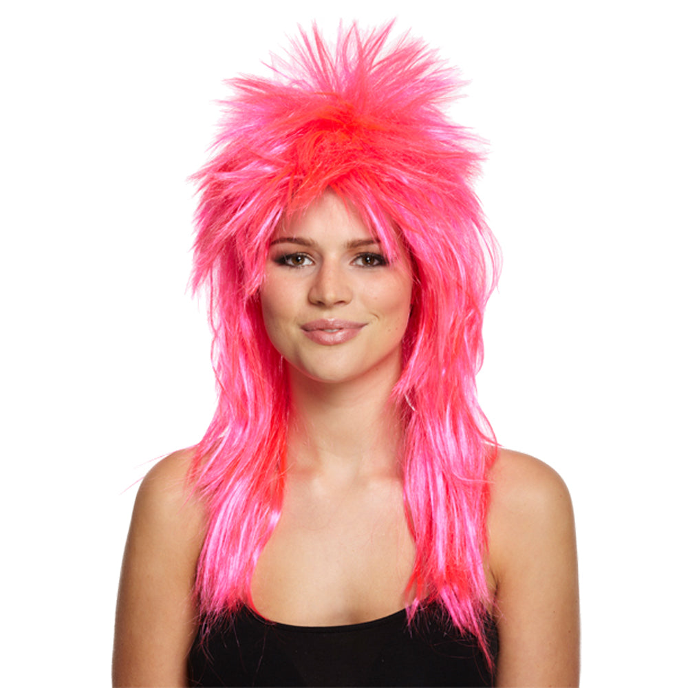 80's Glam Rock Neon Pink Fancy Dress Wig
