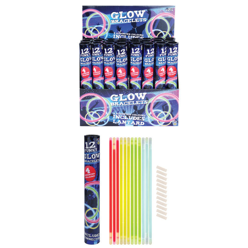 12 glow stick bracelet in a tube, red, green, yeelow and blue