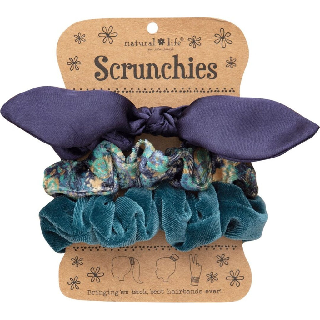 Natural Life Women's Navy Bow Scrunchies
