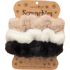 Natural Life Women's Cream, White, Black Set of 3 Fuzzy Scrunchies