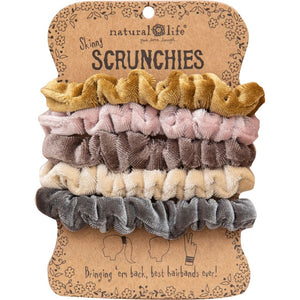 Natural Life Women's Set of 5 Neutral Velvet Scrunchies