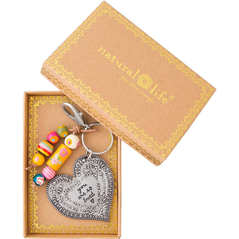 Natural Life Heart You Are So loved Santa Fe Keychain