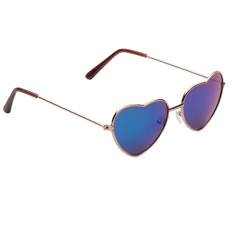 Kid's Annabelle Heart Shaped Metal Rim EyeLevel Sunglasses -  Blue or Brown Lens