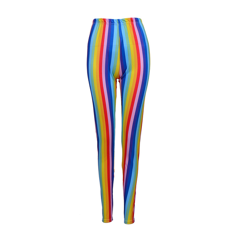 Rainbow Striped Festival Leggings