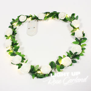 light up rose garland
