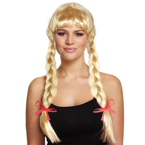 Long Golden Blonde Wig With Plaits & Red Bows
